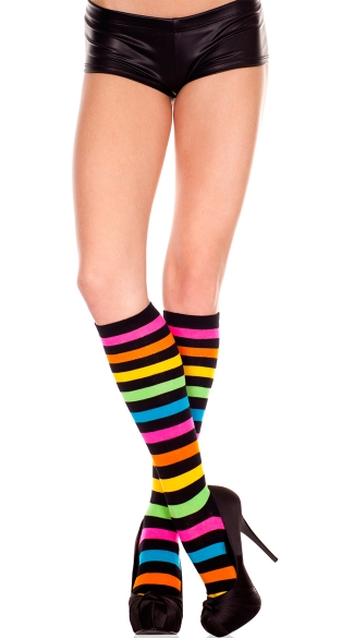 Striped Rainbow Knee Highs, Acrylic Rainbow Stripes Knee Hi