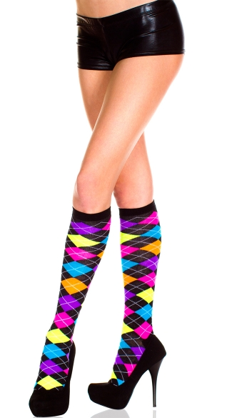 Neon Argyle Knee Highs