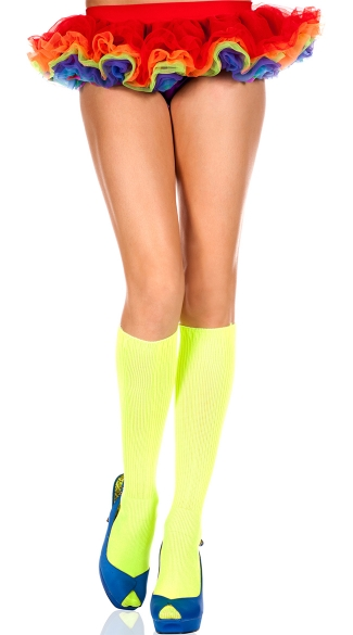 Neon Green Ribbed Knee Highs