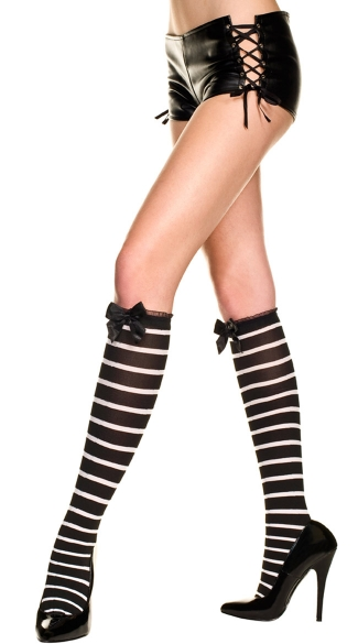 Striped Knee Highs with Ruffle and Bow, Opaque Knee Hi With Thin Horizontal Stripes With Mini Ruffle Lace Trim And Satin Bow, Striped Knee Socks
