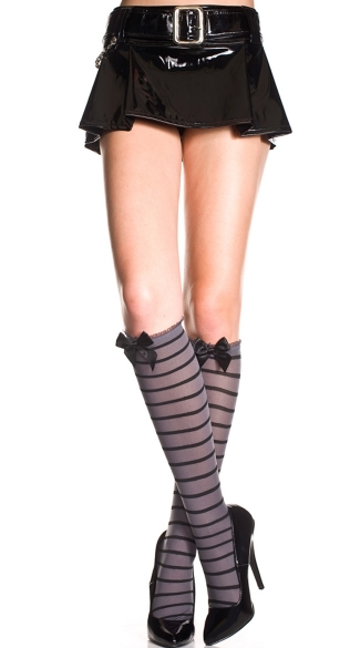 Striped Knee Highs with Ruffle and Bow