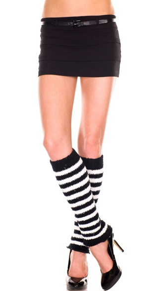 Fuzzy Stripes Leg Warmers