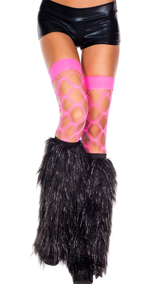 Furry Lurex Leg Warmers, Black and Silver Fur Legwarmers