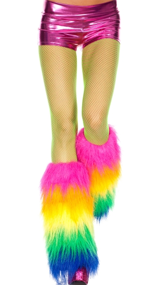 Furry Rainbow Leg Warmers, Faux Fur Rainbow Legwarmers
