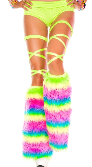 Rainbow Faux Fur Leg Warmer