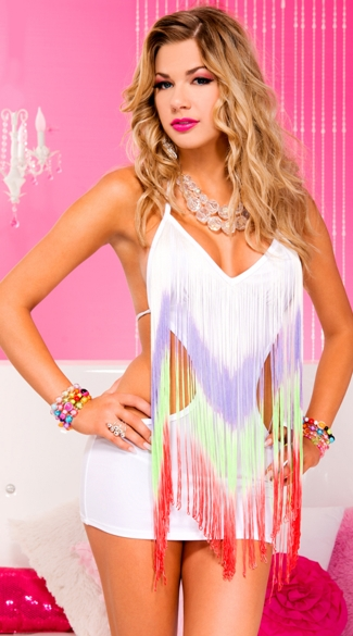 Rainbow Fringe Mini Dress, Rainbow Fringe Chemise