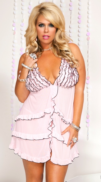 Plus Size Pink Ruffled Mesh Babydoll, Pink Plus Size Lingerie Babydoll