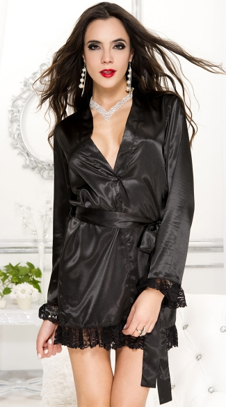 Black Satin Long Sleeve Robe, Lace Trim Robe