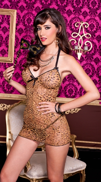 Brown Leopard Mesh Chemise