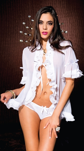 White Ruffle Robe and G String, White Lingerie Robe, White Bedroom Robe