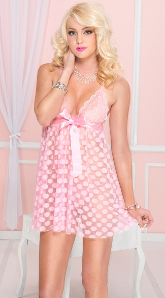 Mesh Babydoll Set With Polka Dots