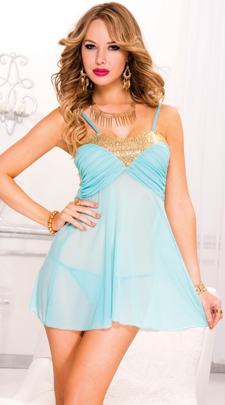 Blue Goddess Babydoll with Gold Sequins