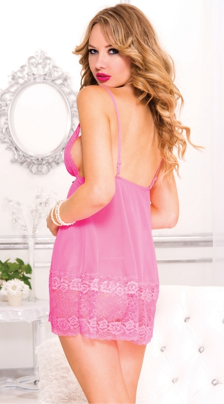 Pink Lacy Chemise and G-String