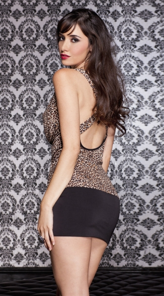 Draped Leopard Mini Dress