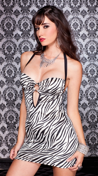 Zebra Print O Ring Mini Dress