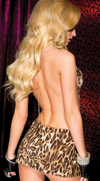 Cut Out Leopard Mini Dress