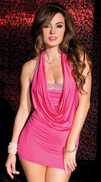 Pink Cowl Neck Mini Dress Hot Pink Short Dress Short Pink Dress