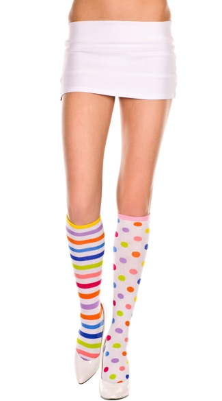 Stripes and Dots Knee Highs, Acrylic Knee Hi With Rainbow Stripes And Polka Dots, Clown Hosiery, Costume Hosiery