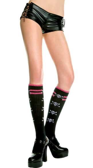 Knit Socks with Skull Detail