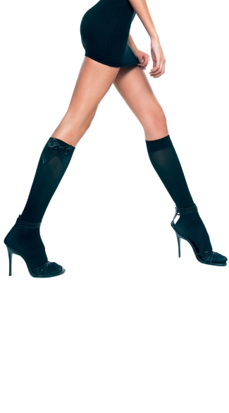 Opaque Knee Highs with Bow, School Girl Knee Highs, Costume Hosiery