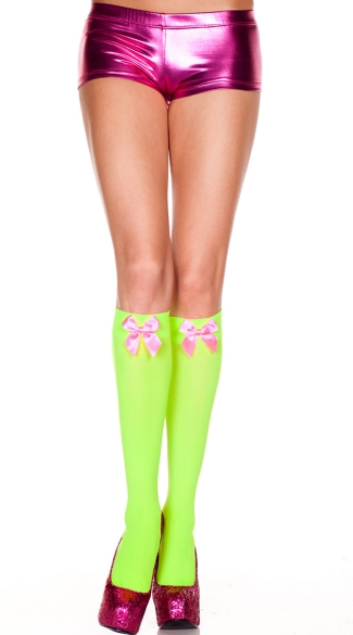 Opaque Knee Highs with Bow