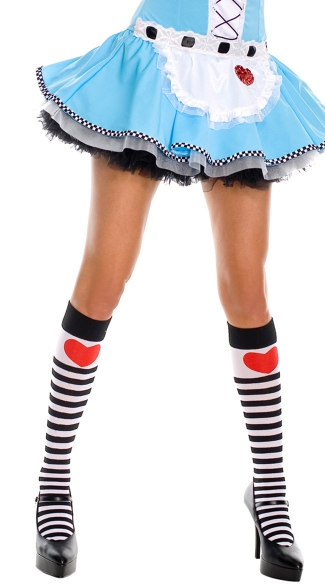 Striped Knee Highs with Heart Print, Alice in Wonderland Knee Highs, Costume Hosiery