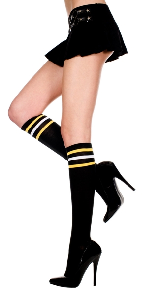 Athletic Knee Highs with Multi Color Stripes