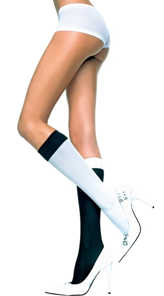 Jester Knee Highs, Black and White Knee Highs, Costume Hosiery