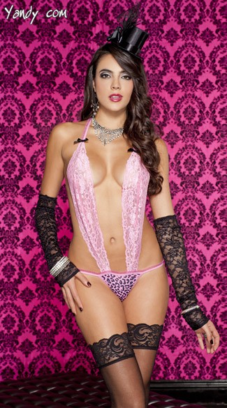 Lace Halter Teddy With Cheetah Print G-String, Pink lace Halter Teddy, Cheetah Print Thong, Sexy Pink Teddy Set