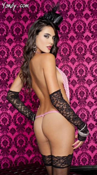 Lace Halter Teddy With Cheetah Print G-String