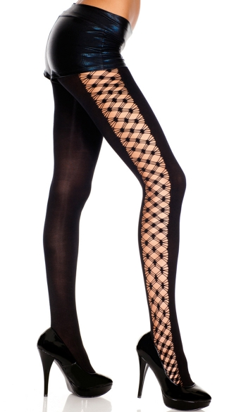 Opaque Tights with Multi Fence Net Sides