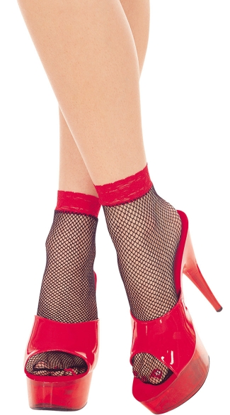 Fishnet Anklets with Lace Top