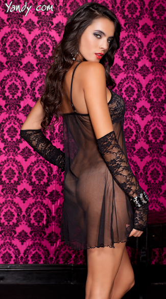 Black Lace and Mesh Empire Babydoll