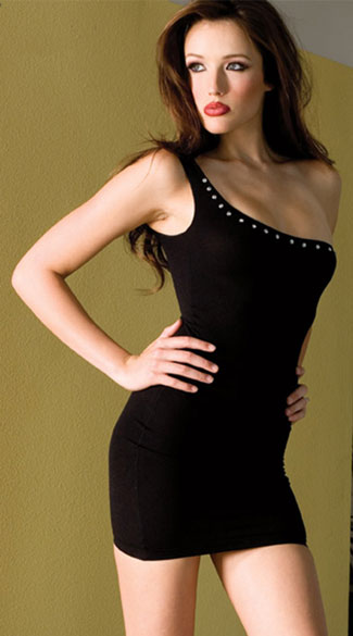 One Shoulder Mini Dress, Black Shoulder Dress