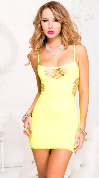 Mini Dress with Net Cut Outs