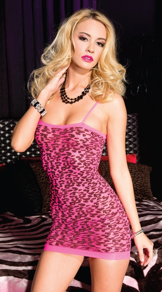 Hot Pink Leopard Print Seamless Dress, Hot Pink Seamless Dress, Pink Seamless Chemise