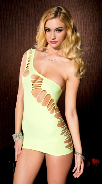 Asymmetrical Ripped Opaque Chemise, Neon Chemise, Neon Green Lingerie Dress