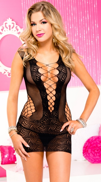 Black Fishnet Chemise With Deep V
