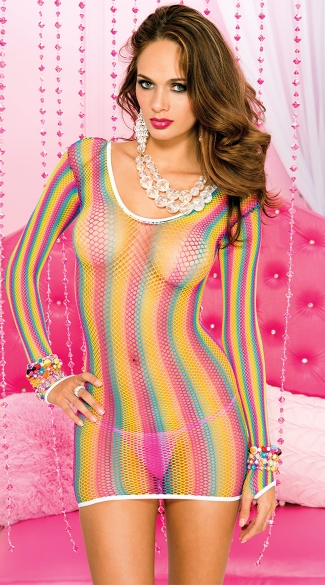 Long Sleeve Rainbow Net Chemise, Long Sleeve Net Chemise