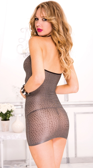 Python Halter Mini Dress