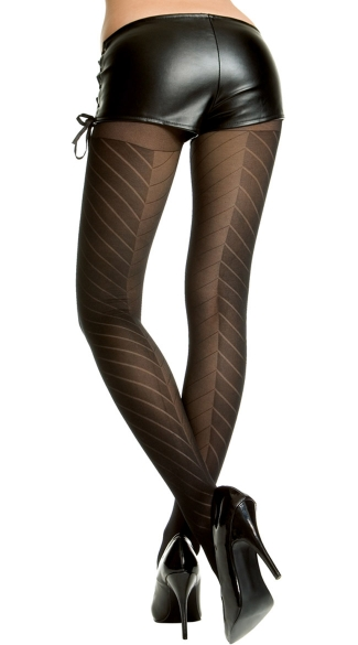 Two Tone Pantyhose, Two Tone Designed Pantyhose, Diagonal Line Pantyhose