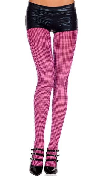 Opaque Checkered Tights, Checkered Pantyhose, Costume Hosiery