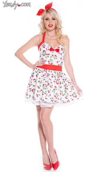 Retro Sexy Cherry Costume, Retro Pinup Costume, Sweetheart Neckline Dress
