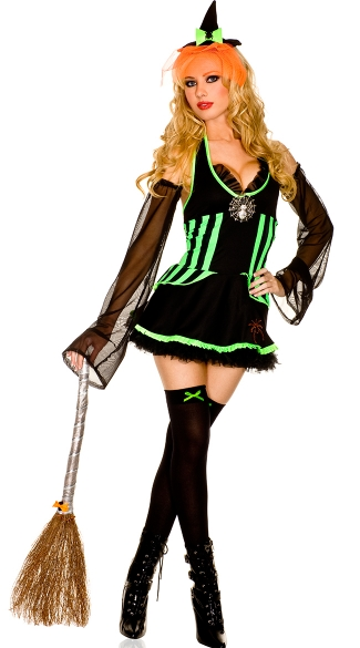 Spider Mistress Costume, Green And Black Witch Costume, Sexy Witchcraft Halloween Costume