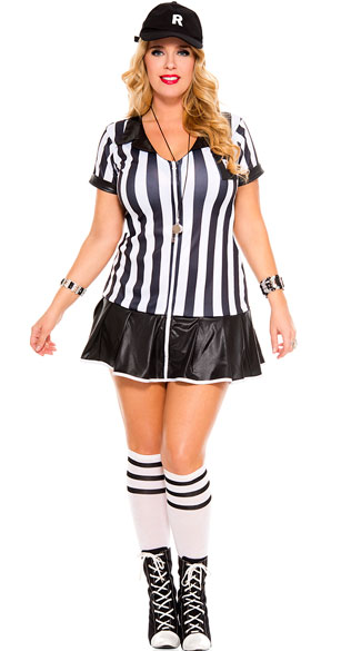 Plus Size Referee Costume, plus size sexy referee costume, plus size ref costume, sexy plus size ref costume, plus size sports costume, sexy plus size sports costume