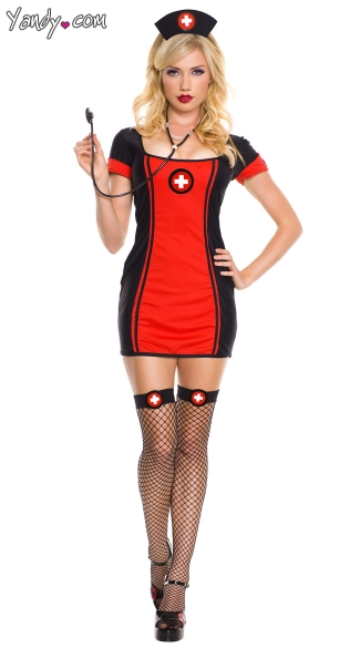 Black and Red Nurse Costume, Sexy Baby Nurse Costume, Dark Nurse Costume, Gothic Nurse Costume