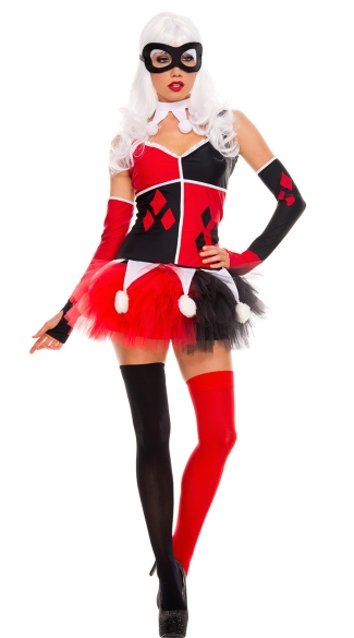 Harlequin Jester Costume, Sexy Red and Black Harlequin Costume, Playing Card Joker