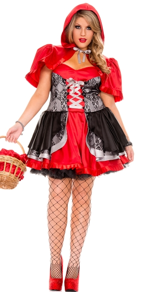Plus Size Fiery Lil Red Costume, Sexy Plus Size Little Red Halloween Costume, Adult Queen Size Red Riding Hood Costume
