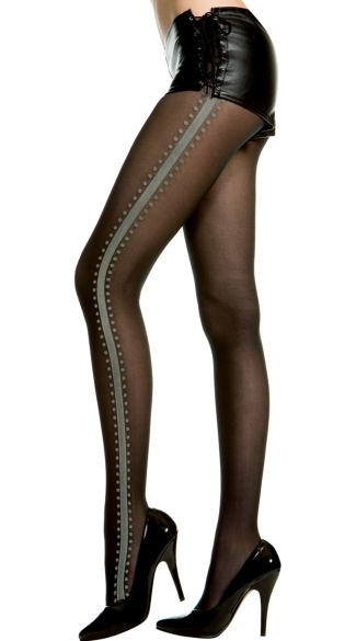 Sheer Pantyhose With Side Stripes, Side Striped Sheer Pantyhose, Classic Sheer Pantyhose