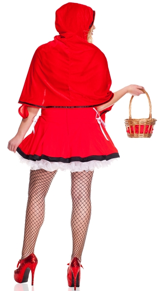Plus Size Lace Up Red Riding Hood Costume